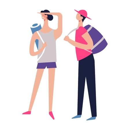 Couple of tourists with backpacks traveling together, backpacks on trip vector. People spending time, active lifestyle of man and woman, rucksacks on shoulders of male and female. Summer hobby