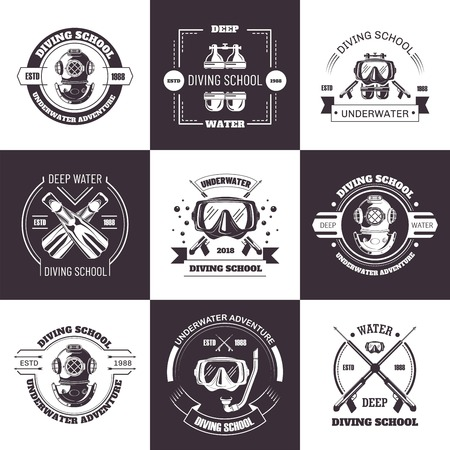 Conjunto de emblemas monocromos de promoción de aguas profundas de escuela de buceo.