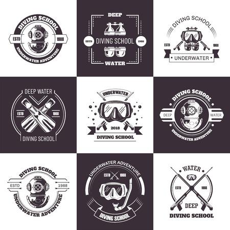 Diving school deep water promo monochrome emblems set. 版權商用圖片 - 110893768