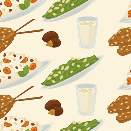 Vegan milk, dairy products and bakery sweets food vector.