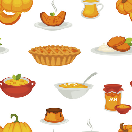 Delicious pumpkin dishes for main course and dessert seamless pattern.