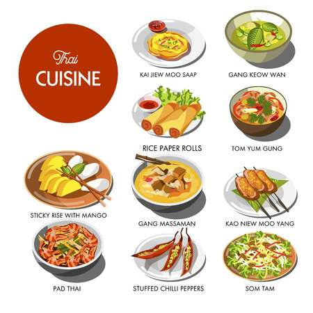 Thai cuisine food and traditional dishes Banque d'images - 110893605