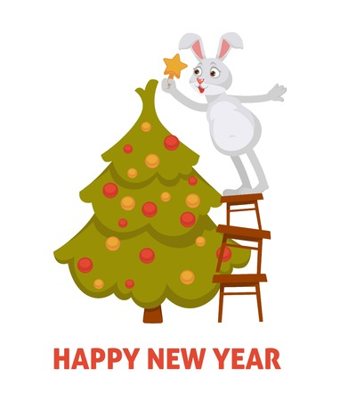 Happy New Year 2019, bunny decorating evergreen Christmas tree