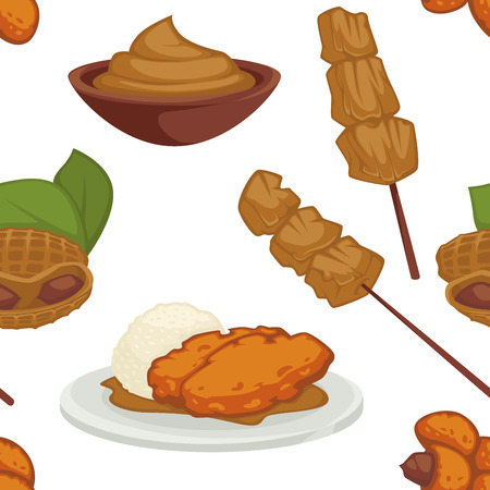 Peanut dishes of food or drinks and desserts seamless pattern. Vector icons of peanut butter, vegan cookie and pastry cakes and chocolate ingredients Illusztráció