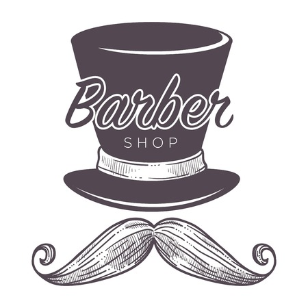 Barber shop label, isolated monochrome sketch outline service for men vector. 向量圖像