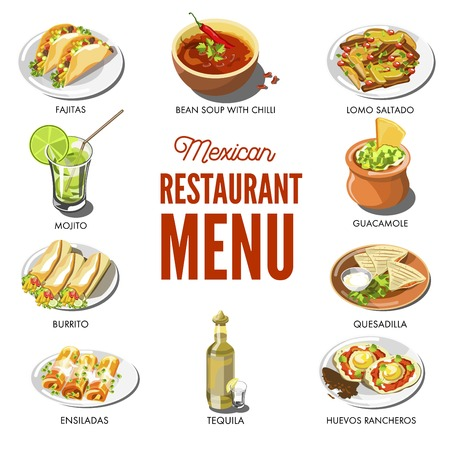 Mexican food cuisine traditional dishes of meal dishes Illustration