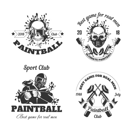 Paintball game sport club logo templates of gamer shooting target or paint ball gun