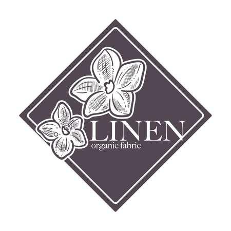 Linen natural 100 hundred percent of guarantee natural product vector Foto de archivo - 111124367
