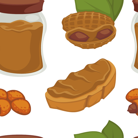Peanut dishes of food or drinks and desserts seamless pattern. Vector icons of peanut butter, vegan cookie and pastry cakes and chocolate ingredients Illustration