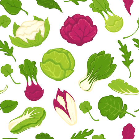 Salad lettuces and cabbage vegetables seamless pattern.