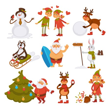 Happy New Year characters resting at beach, Santa Claus and rabbit vector. Haski dog and elf helper with girl in love, preparation for winter holiday. Old Nicolaus pine tree and snowman sunbathing Illustration
