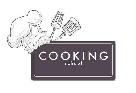 Cooking school monochrome sketch outline chefs hat cap Foto de archivo - 111618194