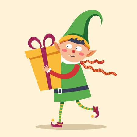Elf in rush to deliver gift box to child Christmas Stock Photo