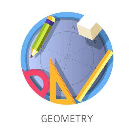 Geometry subject, scientific school and university discipline logo