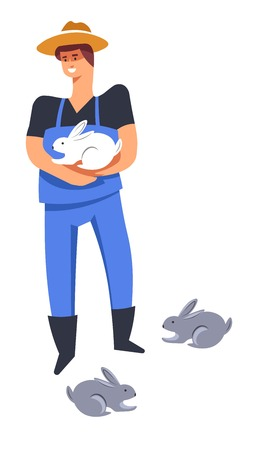 Breeding man holding hare, farmer tending for rabbits on farm vector. Bunnies with long ears and hairy skin. Person wearing hat caring for fluffy animals, herbivorous mammals breed, husbandry