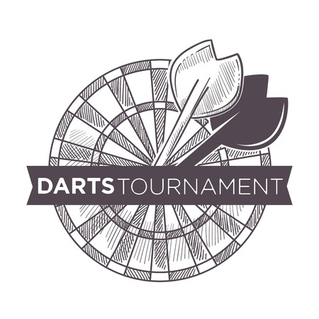 Darts tournament, playing game with arrows and board