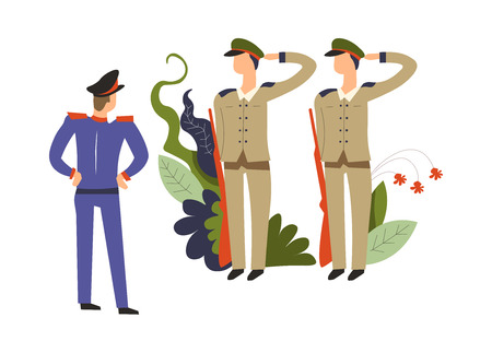 Army commander,  and soldiers with riffles obeying  order Illustration