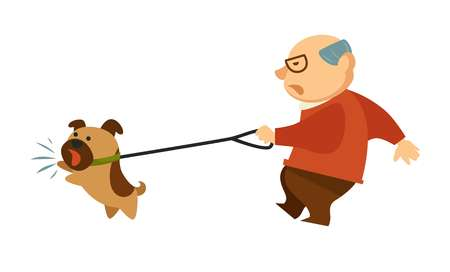 Senior old man walking with angry dog domestic animal 写真素材 - 111706148