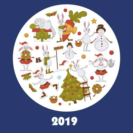 2019 New year celebration approaches, winter characters and symbols vector.