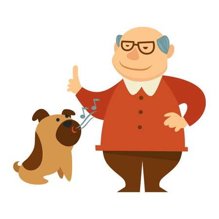 Smiling grandpa giving a command to bark for his dog