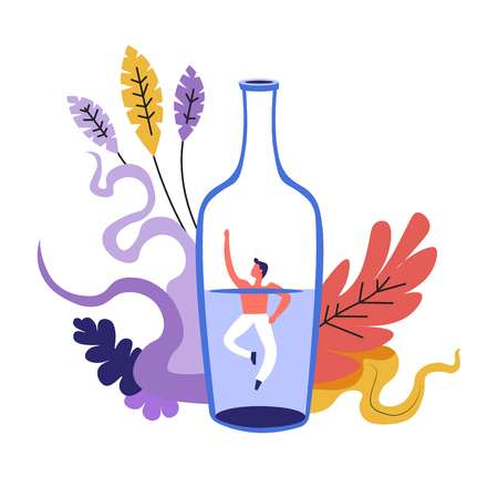 Family problem, man drowning in bottle with alcoholic drink vector. Alcoholism and conflicts on basis of drinking addiction. Male asking to help him, drunkard with leaves and foliage decoration