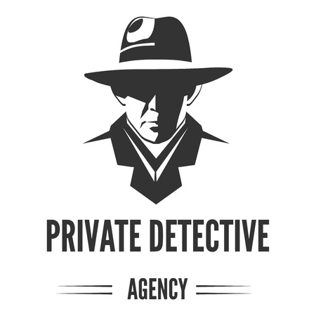 Private detective logo of vector man in hat for investigation service agency Logo