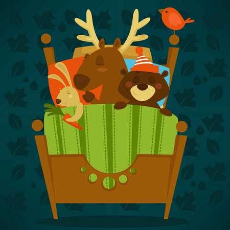 Tiere schlafen im Bett Märchenhaustiere schlafenden Set Vektor. Häschen, das Karotte in der Pfote hält, Rentier mit Horn. Ruhige Säugetiere, die zusammen unter einer warmen Decke liegen. Nette Karikaturillustration. Vektorgrafik