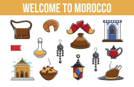 Morocco travel agency promo informative poster with cultural symbols. Elegant garments, exotic dishes, old relics, antique jewelry and unusual garments vector illustrations on banner with sample text.