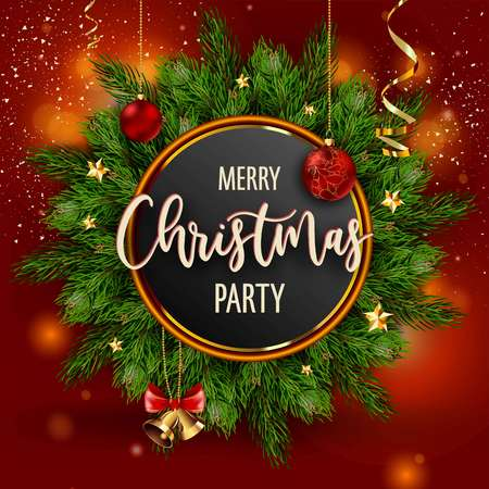 Merry Christmas party invitation poster with main information vector. Special guests and evening program, free drinks. Pine evergreen tree branches and baubles, confetti and symbolic toys decor on red background Illustration