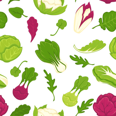 Salad lettuces and cabbage vegetables seamless pattern. Vector background of cauliflower, kohlrabi or broccoli cabbage, iceberg salad leaf and oakleaf with chicory and arugula Stock Vector - 127730848