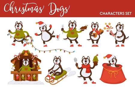 Christmas wolf or dog Santa cartoon character vector icons for New Year greeting card design template. Winter holiday sleigh, tree lights garland or skating with gift bag, decorations on house