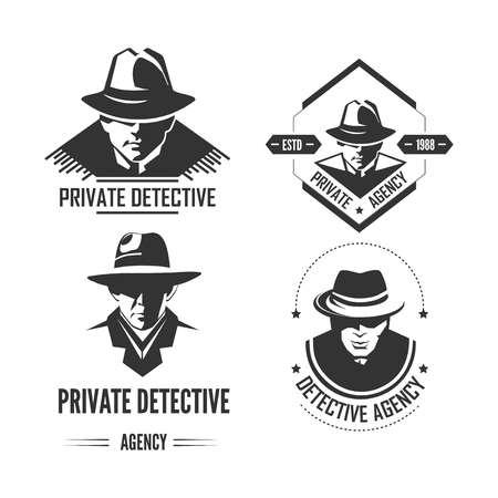 Emblemas monocromáticos promocionales de detective privado con hombre con sombrero y abrigo clásico. Ilustración de vector