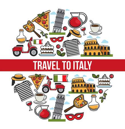 Italy sightseeing landmarks and famous travel attractions poster. Ilustración de vector