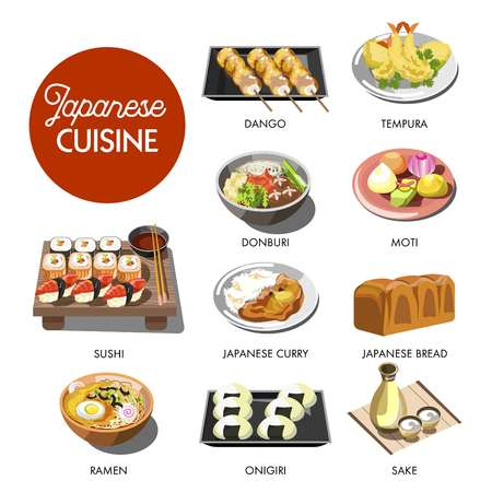 Japanese cuisine traditional dishes of ramen and udon donburi noodles, onigiri seafood tempura sushi rolls, miso soup and sake vodka drink. Traditional Japan restaurant menu vector icons Illustration