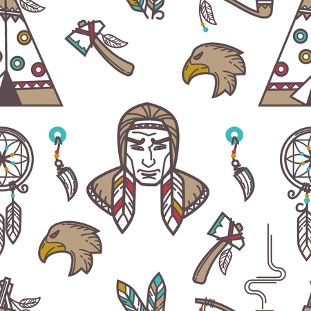 Native American Indians traditional culture symbols pattern background. Vector seamless design of Indigenous household and tribal icons wigwam hut, tomahawk weapon tools and smoking pipe