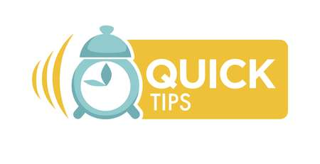 Quick tips logo with alarm clock and big sign.