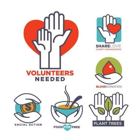 Charity, blood or donation or medical and volunteering support or care design