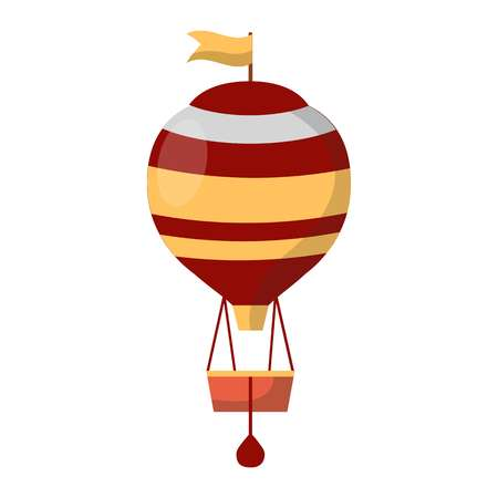 Air balloon decorated with flags isolated on white background. Transportation item with basket and heavy bags. Vintage transport for short distance journey vector illustration in flat style design Иллюстрация