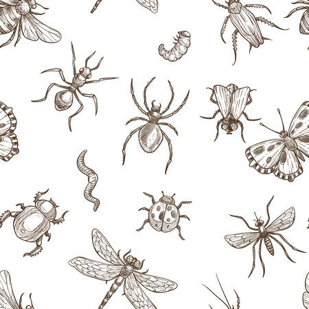 Insekten, die fliegen und kriechen, monochrome Sepia skizzieren nahtlose Muster.