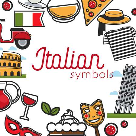 Italy sightseeing landmarks and famous travel attractions poster. 일러스트