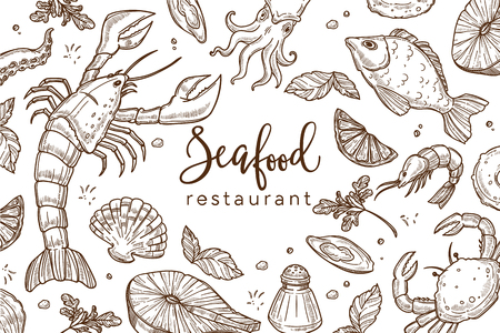 Seafood restaurant sketch poster for menu or tablemat template. Vector pattern background of seafood lobster crab, shrimp prawn or fish and oyster, salmon steak and octopus