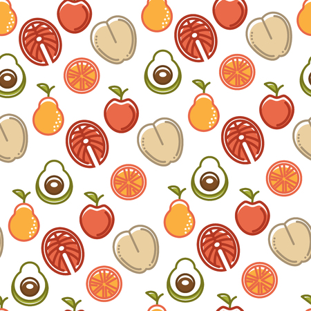 Healthy lifestyle and fitness food nutrition and drinks seamless pattern. Vector flat isolated icons of vegetarian fruits and vegetables, gym and sportsman protein and dietary sport supplies Illustration