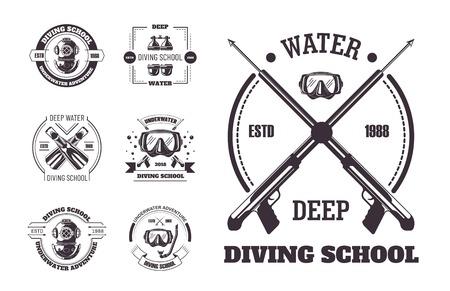 Zestaw promocyjnych monochromatycznych emblematów szkoły nurkowania głębokiej wody.