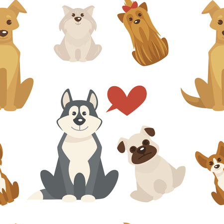 Dog types and breeds canine animals seamless pattern isolated on white background vector.