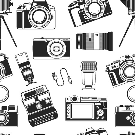 Camera photograph, portable old style apparatus equipment for photographers seamless pattern vector. Monochrome icons of optical lens and objectives for making good photo. Photography art and