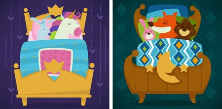 Animals sleeping in bed fairytale pets asleep set vector. Fox and bear, unicorn and rabbit hare. Calm mammals, lying under warm blanket together. Cute cartoon illustration.