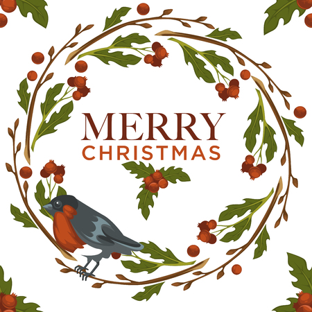 Merry Christmas bullfinch bird and mistletoe symbol seamless pattern isolated on white background vector.