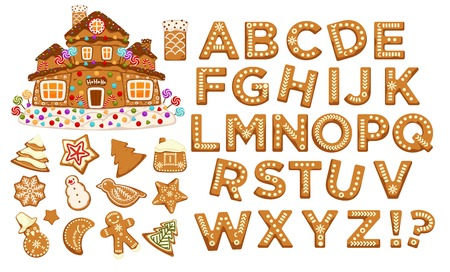 Happy holidays, Christmas abc letters font, graphic design vector. Signs in form of bakery with ginger, gingerbread man and star, house and pine tree, cookies set. Celebration alphabetical icons Illustration
