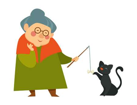 Smiling granny, old lady playing with her cat, holding a teaser toy, colorful cartoon, flat concept vector illustration on white background