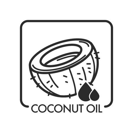 Olio di cocco, prodotto e goccia, vettore di contorno schizzo monocromatico. Icona del salone spa, ingrediente tropicale utilizzato in cosmetologia e medicina, cucina di dolci e trattamento della pelle. Miglioramento della salute